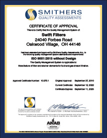 Swift Filter Quality Assurance ISO 9001:2008